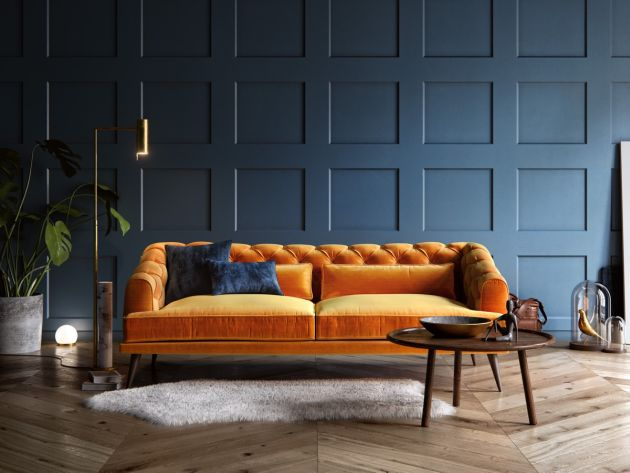 Blue Living Room With Orange Chesterfield Sofa And A Gold Floor Reading Lamp