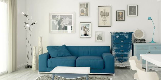 Blue Living Room With Unique Floor Lamp