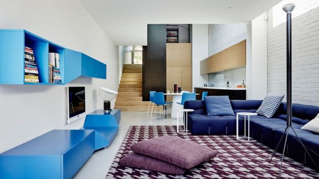 Blue Living Room With White And Light Wood Tone
