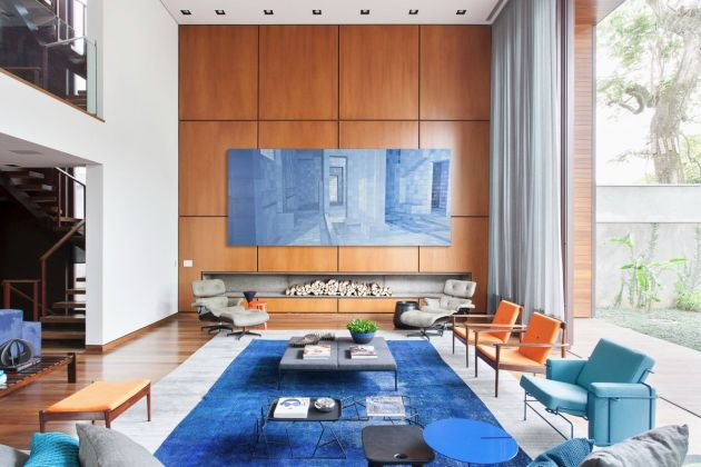 Blue Living Room With Wooden Wall And Floor