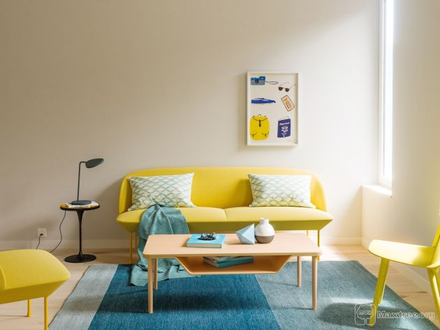 Blue Living Room With Yellow Chair And Sofa