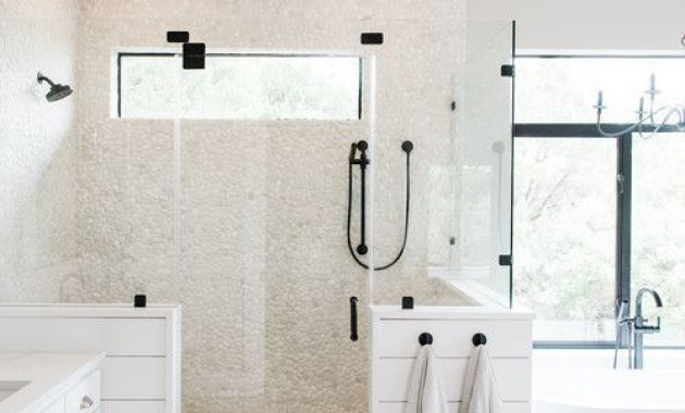 Contemporary Farmhouse Bathroom With Neutral Tiles And Taupe Hex Tiles