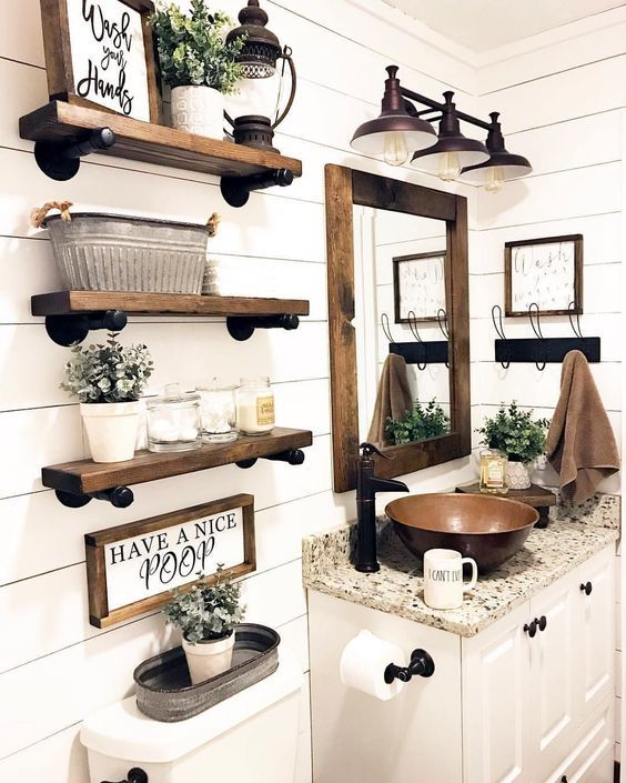 Farmhouse Bathroom With White Plank Walls And Stained Wooden Shelves