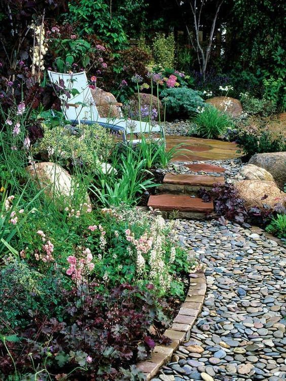 Garden Edging Ideas With Brick Edging And A Pebble Path