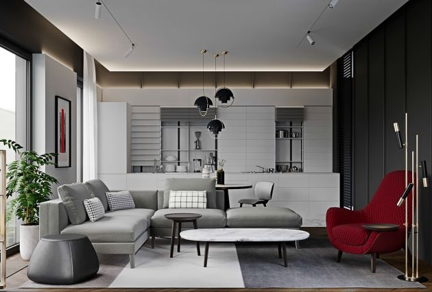 Grey Living Room Ideas With A Deep Berry Chair And Resonating Artwork
