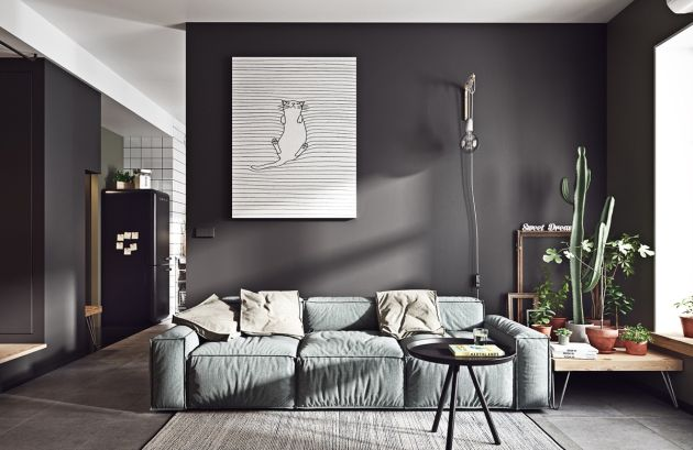 Grey Living Room Ideas With Grey Couch And Industrial Light