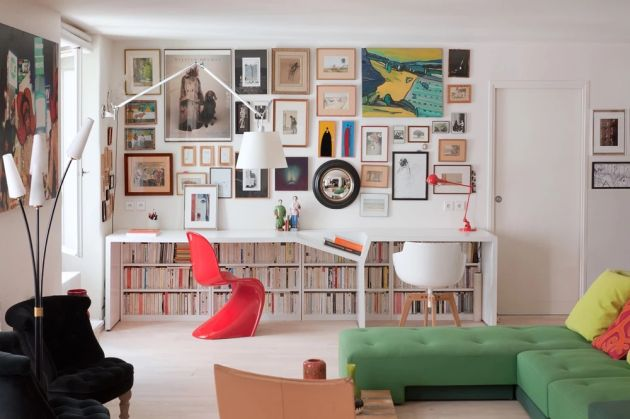 Home Office Design Ideas For Two Persons With Colorful Artwork And Rows Of Books