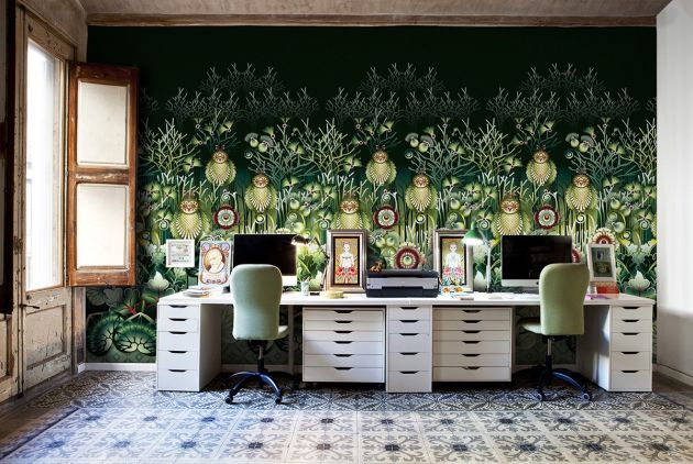 Home Office Design Ideas For Two Persons With Enchanting Forest Of Owls