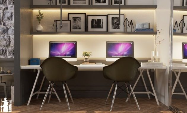 Home Office Design Ideas For Two Persons With Relaxing Inset Lighting