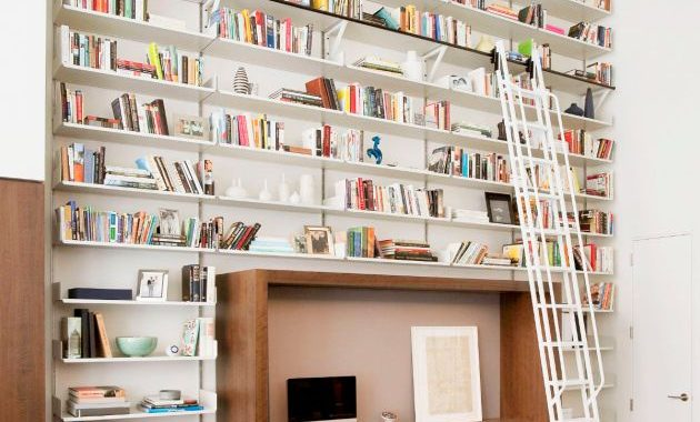 Home Office Design Ideas For Two Persons With Rolling Ladder