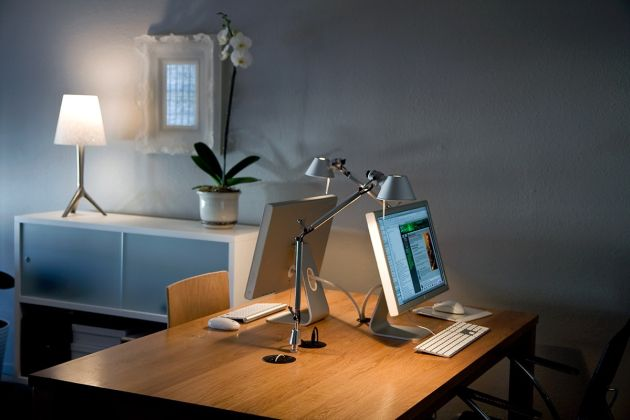 Home Office Design Ideas For Two Persons With Two Desk-Mounted Tolomeo Style Lamps