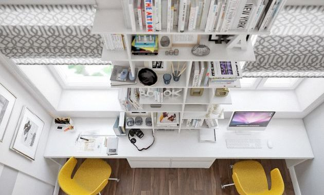 Home Office Design Ideas For Two Persons With Yellow Chairs