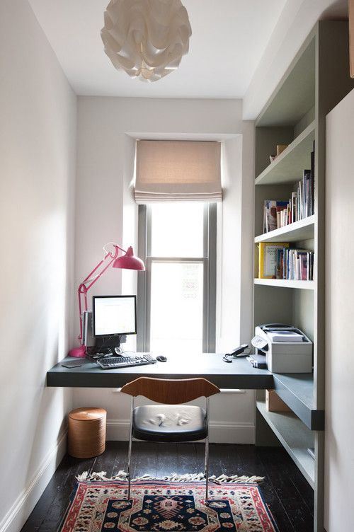 Home Office With Built-In Open Shelves