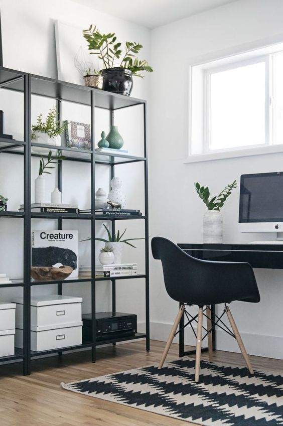 Home Office With Laconic Storage Unit Of Blackened Metal