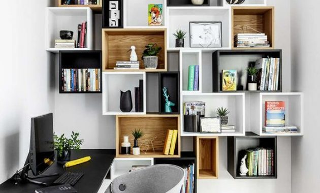 Home Office With Mismatching Box Wall-Mounted Shelving Units