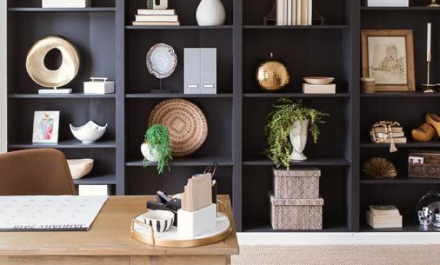 Home Office With Open Storage Units In Navy