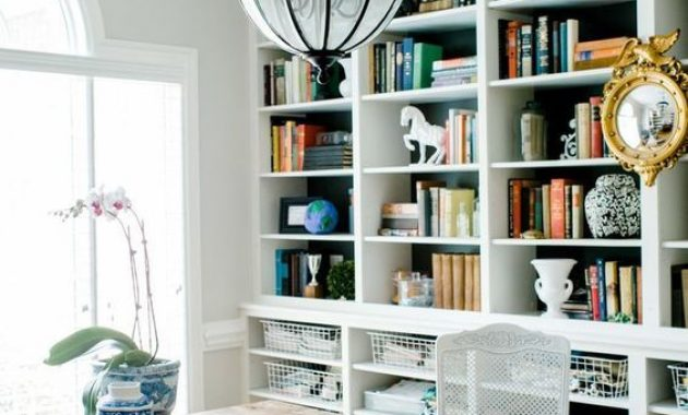 Home Office With Shelves And Wire Baskets