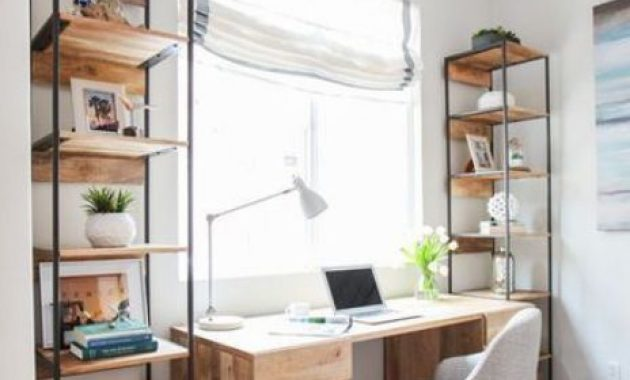 Home Office With Two Free-Standing Shelving Units Of Metal And Wood