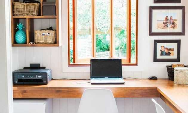 Home Office With Wall-Mounted Open Shelves