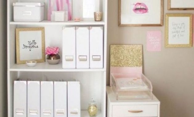 Home Office With White Open Storage Free-Standing Unit