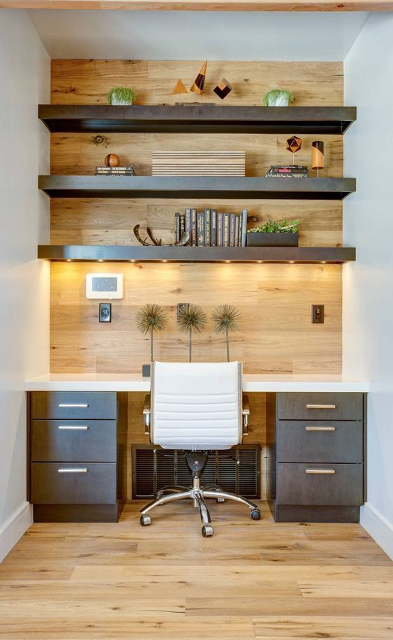 Home Office With White Thick Open Shelves With Lights