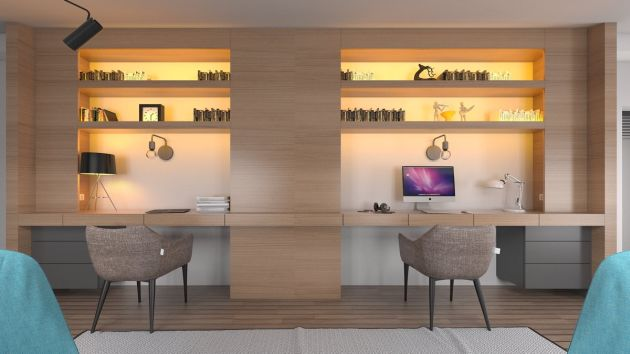 Home Office Workspace Ideas Featuring 2 Person Desks