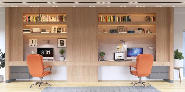 Home Office Workspace Ideas With Pictures Featuring 2 Person Desks