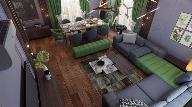 Living Room Decor With Green Sofa