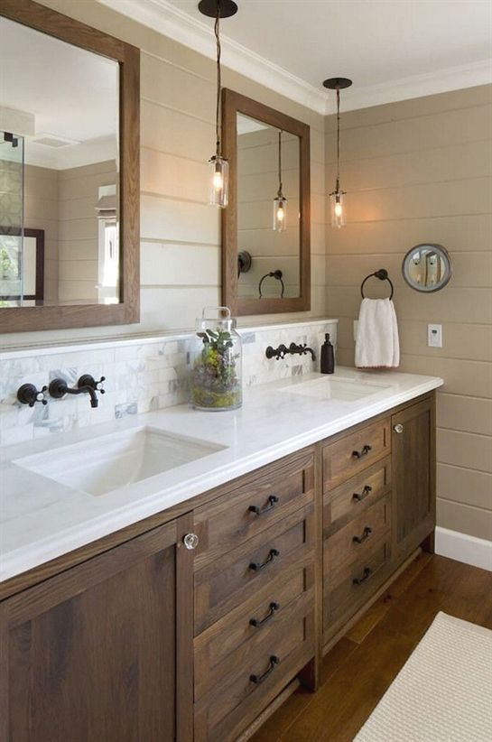 Modern Farmhouse Sink Space With A Large Stained Vanity