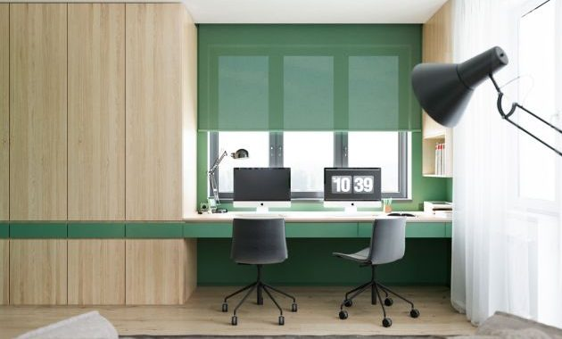Modern Green Home Office With Black Chairs