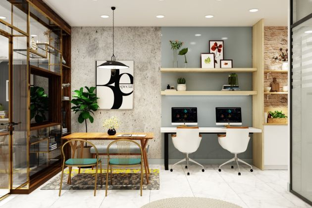 Modern Home Office With A Dining Table