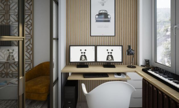 Modern Home Office With A Shallow Runaround Worktop