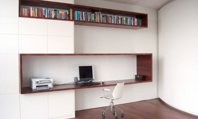 Modern Home Office With Bank Of Storage Units