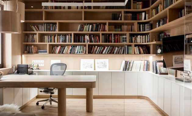 Modern Home Office With Cabinets and Shelving