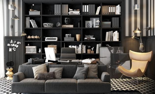 Modern Home Office With Decorative Shelving And Sofa