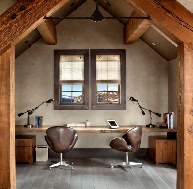 Modern Home Office With Distressed Swan Chairs