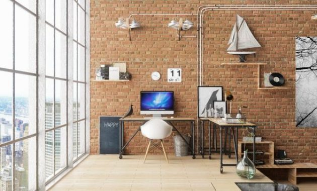 Modern Home Office With Exposed Brick