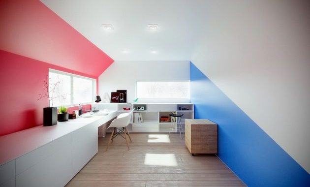 Modern Home Office With Motivating Colors