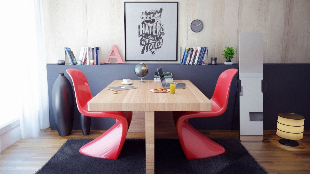 Modern Home Office With Panton S Chairs