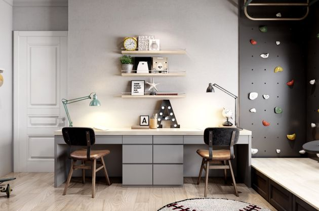 Modern Home Office With Shallow Picture Shelves