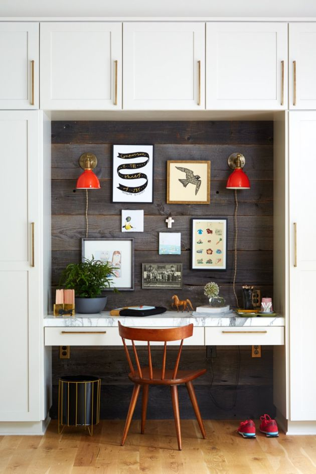 Modern Home Office With Two Bright Red Wall Sconces