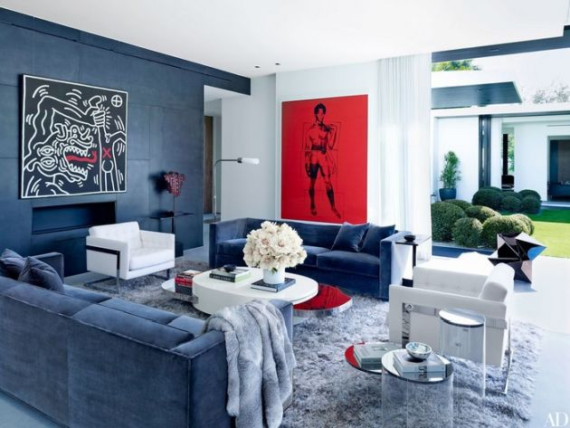 Royal Bold Blue Modern Living Room Designed By Briggs Edward Solomon
