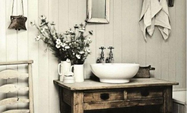 Shabby Chic Farmhouse Bathroom With White Plank Walls