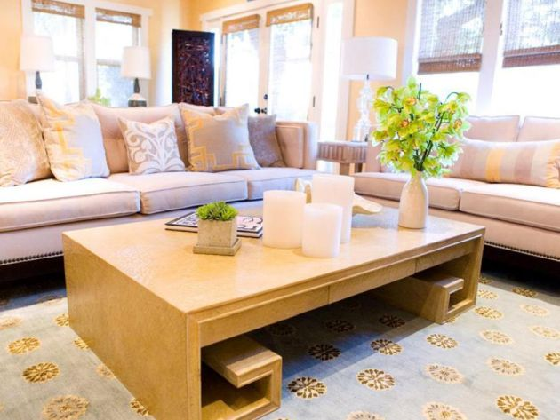 Small Living Room Decorating Idea With Unique Coffee Table