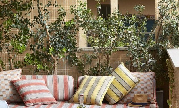 Small Patio Decor Ideas With A Custom Sofa With Cushions