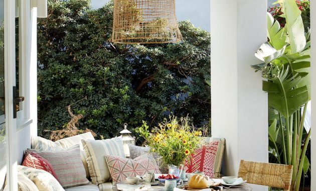 Small Patio Decor Ideas With Wicker Pendant