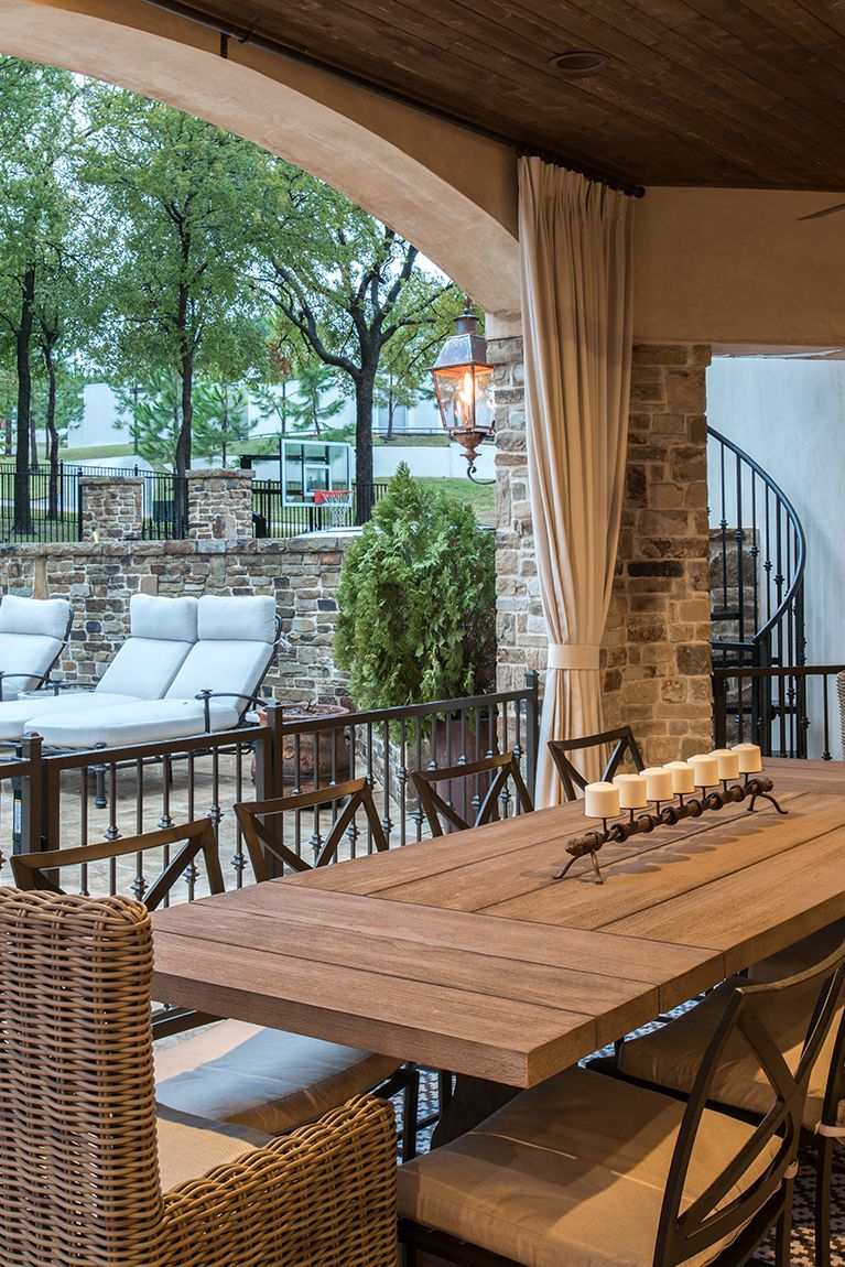 Small Patio With Wooden Table