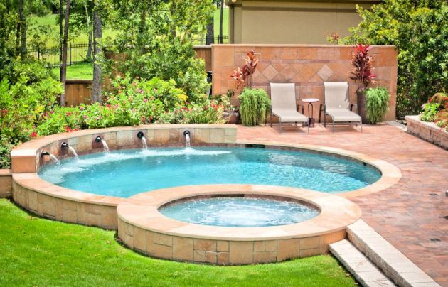 Small Swimming Pool with Warm Sandstone Paving