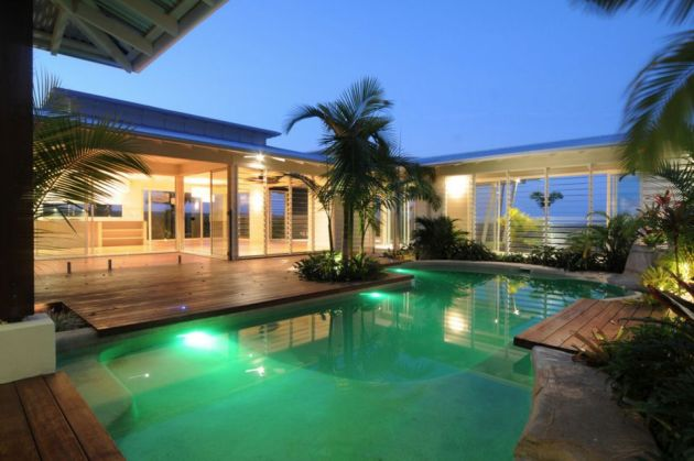Swimming Pool Design Idea with Wood Decking