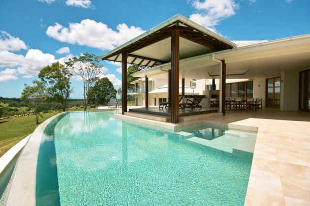 Swimming Pool Design with Pebble Pool Plaster Finish